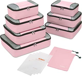 Gonex Packing Cubes Set,Lightweight Travel Organizers Bags 3pcs/5pcs/9pcs Packing Cubes Set + 4 Reusable Zip Bags, Pink(9pcs Set) (Pink(9pcs Set)) - Gonex-GXGN0119I