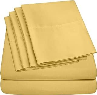 Queen Sheets Yellow - 6 Piece 1500 Thread Count Fine Brushed Microfiber Deep Pocket Queen Sheet Set Bedding - 2 Extra Pillow Cases, Great Value, Queen, Yellow