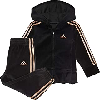 Adidas Baby Girls' Li'l Zip Front Velour Pleated Hoodie Jacket and Pants Set (Black/Gold, 9 Months,)