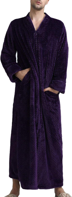 Flygo Men's Fleece Plush Flannel Bathrobe Zip Up Flannel Long Robe Pockets