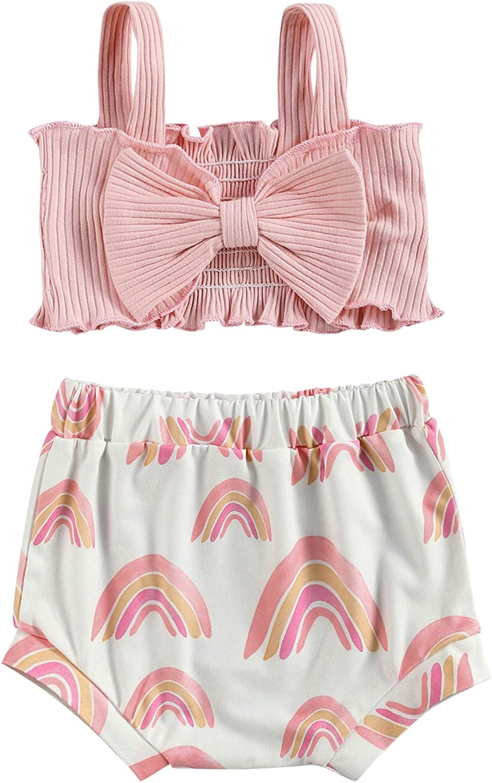 Newborn Baby Girls Sleeveless Crop Top Halter Bowknot T-Shirt Rainbow Shorts 2Pcs Casual Summer Outfits 0-24M