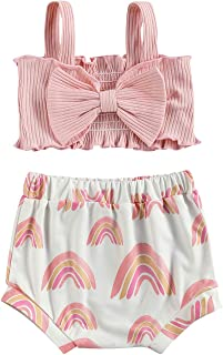 Fashion 2Pcs/Set Baby Girl Summer Outfits, Knitted Crop Tops with Big Bow Sun Rainbow Print Shorts