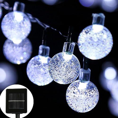 30 LED Solar Fairy String Lights Crystal Ball Outside Xmas Gardern Pink MI
