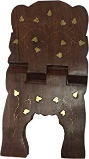 Wooden Handmade Foldable Book Holder Religious Prayer Stand Book Stand Geeta / Bible / Quran with Complete Flower Inlay Design 13 Inch