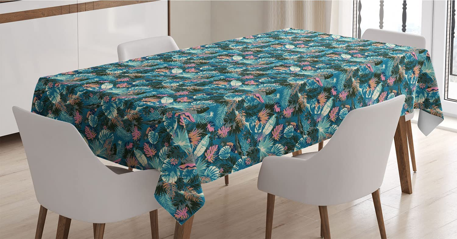 Charlotte Mall Ambesonne Tropical Tablecloth Gifts Jungle Leav Palm Coconut Monstera