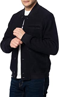 merc Sherlock, Men's Wool Bomber Jacket with Ribbed Hem and Cuffs