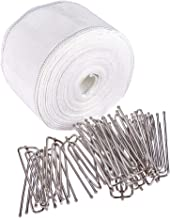 INCREWAY 10m Curtain Heading Deep Pinch Pleat White Tape with 20pcs Stainless Steel 4 Prong Curtain Pleat Hook