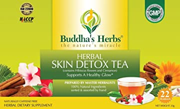 Buddha's Herbs Skin Detox Tea with Hibiscus, Cinnamon & Rosehips - Immunity (Packed with Viatmin C), Beauty and Diabetic S...