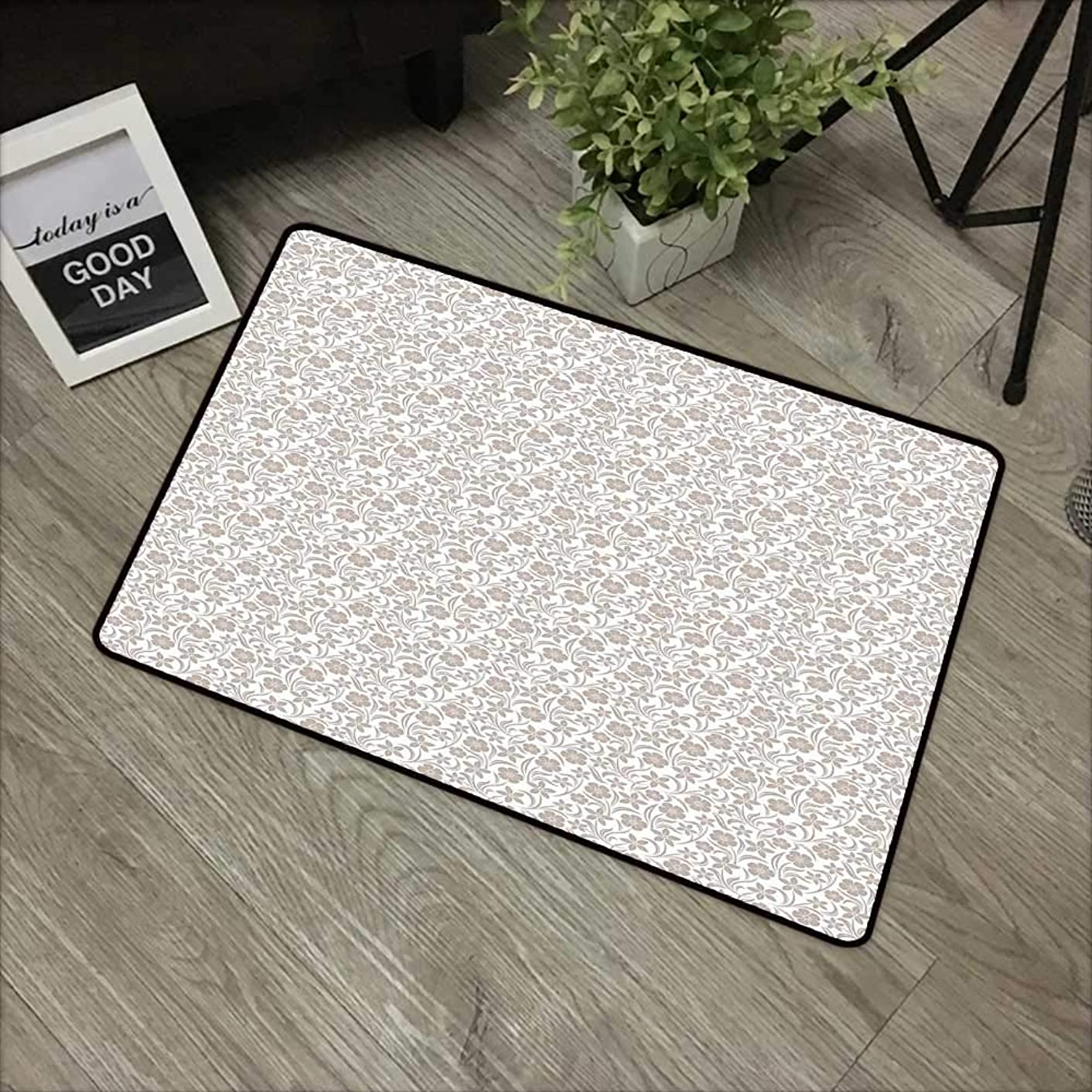 Hall mat W24 x L35 INCH Beige,Soft Gentle Floral Arrangement with Nature Inspirations Foliage Illustration Abstract,Tan White Easy to Clean, Easy to fold,Non-Slip Door Mat Carpet