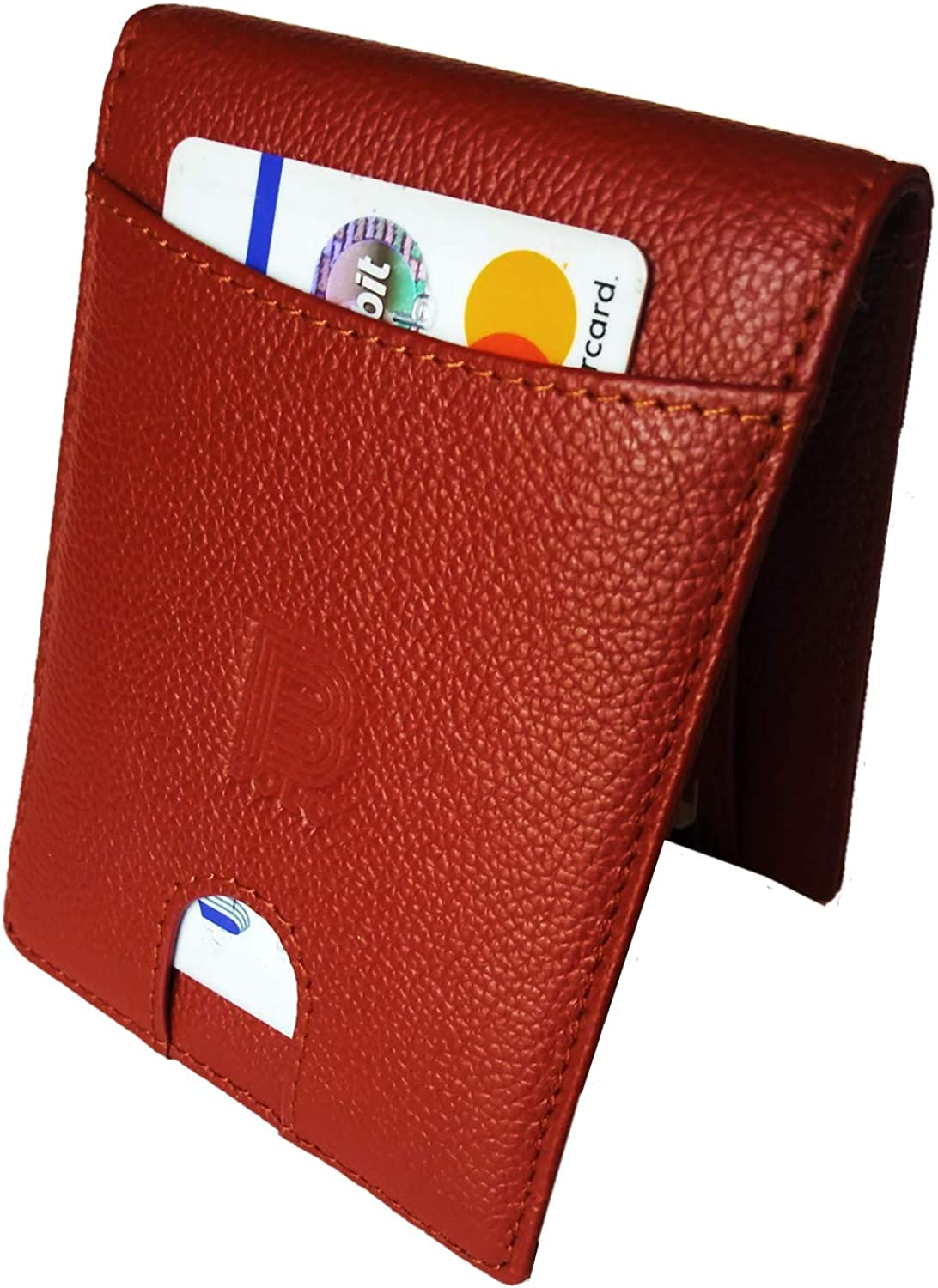 NEW 2019 Men's Wallet Slim Full Grain Leather, RFID blocking with money clip and zipper coin pocket, Los Sierra by BOLO