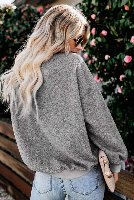 kenoce Damen Teddy-Fleece Hoodie Plüsch Kapuzenpullover Winter Warm Weich Pullover Langarm Oversize Sweatshirt mit Kapuzen B-grau