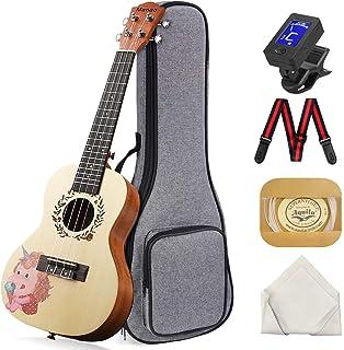 Concert Ukulele Manao 23 Inch Grade AAA Spruce Solid Top Ukelele Beginners Kit Professional Ukele Unicorn Print Instrument...