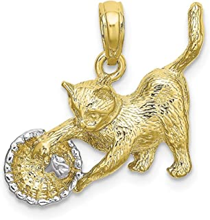 10k Yellow Gold Rh Cat Playing Yarn In Basket Pendant Charm Necklace Animal Fine Jewelry Gifts For Women For Her