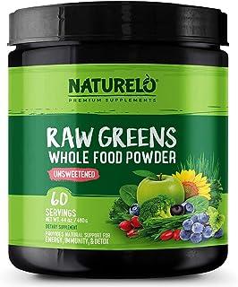 NATURELO Raw Greens Superfood Powder - Unsweetened - Boost Energy, Detox, Enhance Health - Organic Spirulina - Wheat Grass...