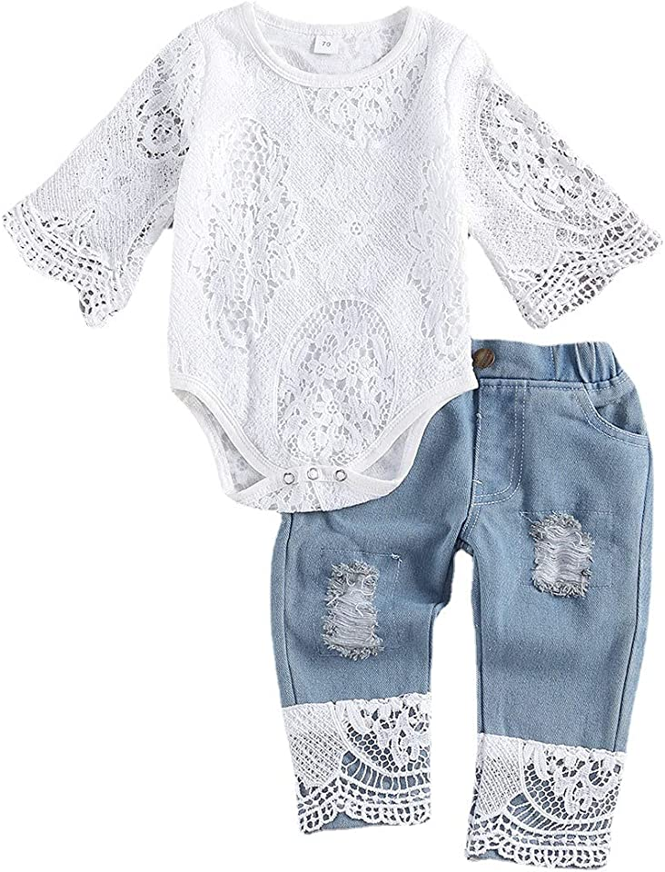 Baby Girl Lace Clothes Autumn Winter Outfit for Newborn Long Sleeve Tops Romper for Infant Toddler Ripped Denim Jeans Outfits