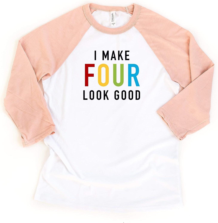 Little Spunkies I Make Four Look Good 4th Birthday Toddler Raglan Tee