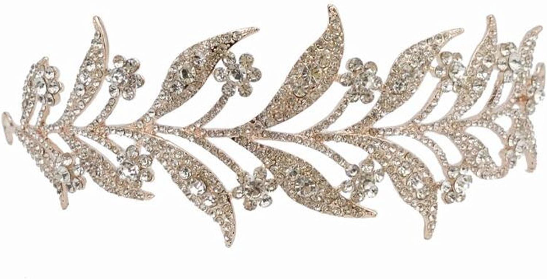 Bridal leave pink gold tone rhinestone party crown headpiece Hair tiara Leaves Crowns( 53)
