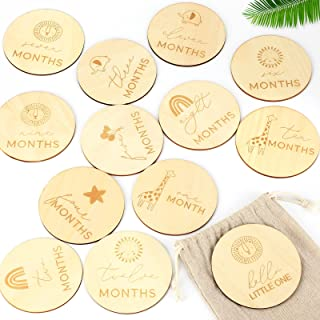 Baby Monthly Milestone Cards, 13 Monthly Baby Milestone Cards Wooden Monthly Milestones Baby Photoshoot Props – Baby Girl ...