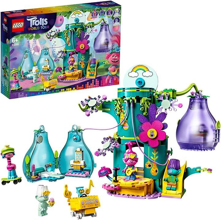Lego trolls world tour festa al villaggio pop, set di costruzioni con una casa sull'albero con 2 baccelli 41255