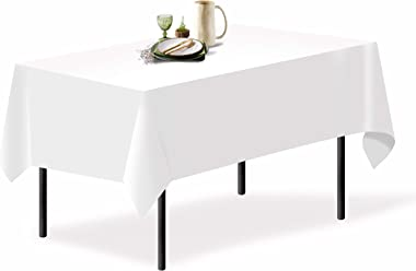"Grandipity White 1 Pack Premium Polyester Rectangle Tablecloth 60"" x 102"" Inch Rectangular (Linen Alternative) Fabric Table C"