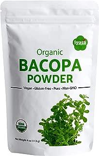 Organic Brahmi Bacopa Monnieri Powder, Trial Pack of 4 Oz/112 Gm, USDA Ayurvedic Herb Hair Growth and Brain Function , Always Fresh, Capsule Alternative, Resealable Pouch of 4 oz