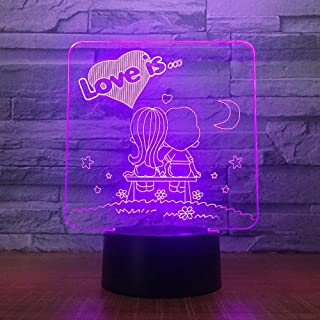 Amoureux de la Bande dessinée 3D veilleuse de noël LED 7 Couleurs USB 3D Illusion Lampe de Table pour la décoration de fêt...