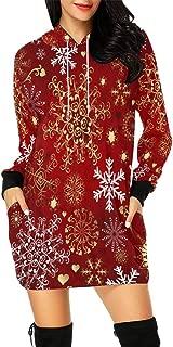 Christmas Xmas Santa Snowman Winter Women's Long Sleeve Hoodie Mini Dress