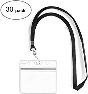 Fushing 30Pcs Clear Plastic Horizontal Name Tags Badge ID Card Holders and 30Pcs Flat Neck Lanyards with Swivel Hook