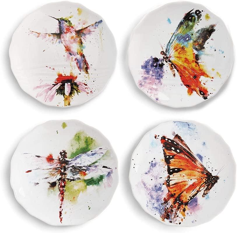 Dean Crouser Nature Watercolor 6 X 6 Ceramic Stoneware Decorative Appetizer Plates Set Of 4