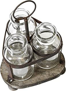 FUNSOBA Rustic Flower Vase Set with Vintage Wood Rack Stand Farmhouse Glass for Home Table Decor
