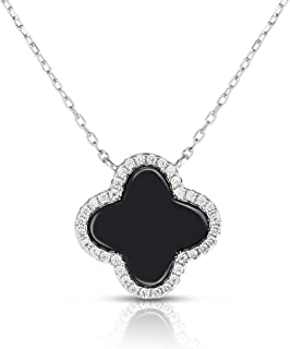 Sterling Silver Cubic Zirconia Four Leaf Clover 16 mm Necklace With Adjustable Length.