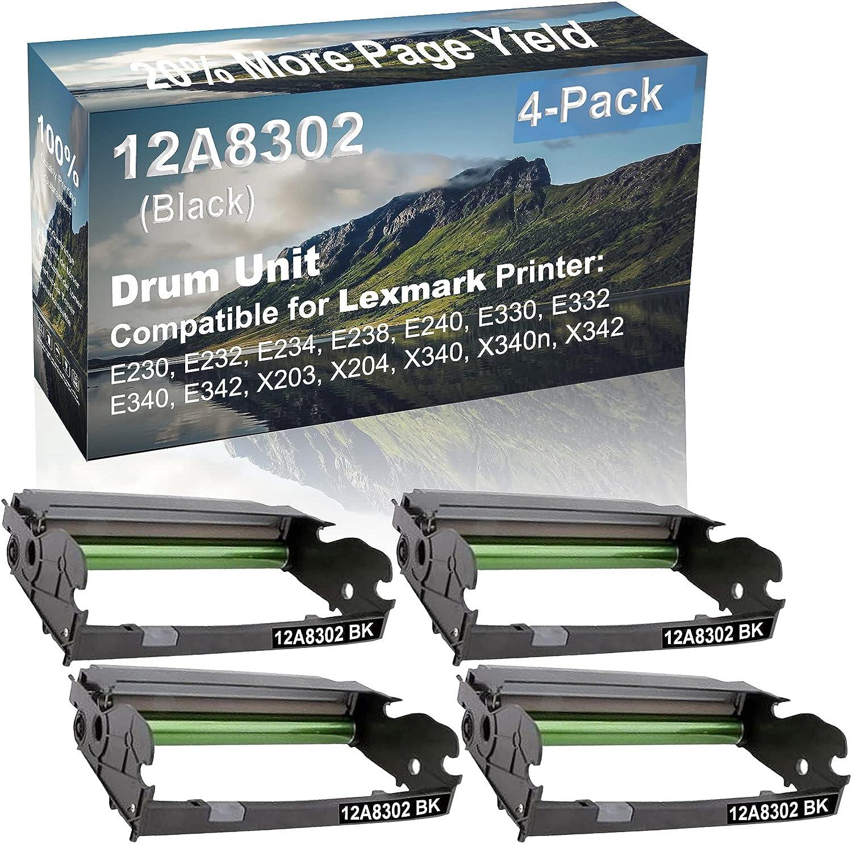 4-Pack (Black) Compatible E330, E332, E340, E342 Printer Drum Unit Replacement for Lexmark 12A8302 X340H22G Drum Kit