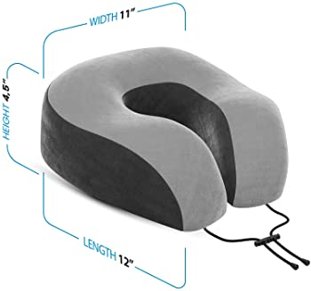 Everlasting Comfort Memory Foam Travel Pillow - Includes Eye Masks and Earplugs - Neck Pillow for Airplane