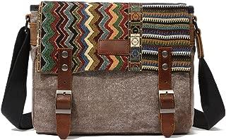 Canvas Messenger Bag for Women,Uarzt Vintage Shoulder Bag School College Satchel, fits Ipad, Kindle,Samsung (Brown)