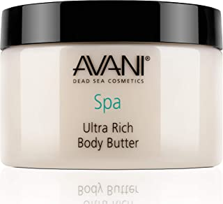 Avani Ultra Rich Body Butter - Dead Sea Salt, Aloe Vera, Vit E, Shea, Jojoba, Sunflower, Olive Essential Oil - Natural Exf...