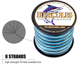 HERCULES Cost-Effective Super Cast 8 Strands Braided Fishing Line 10LB to 300LB Test for Salt-Water,109/328/547/1094 Yards(100M/300M/500M/1000M),Diam.#0.12MM-1.2MM,Hi-Grade Performance,Variety Colors