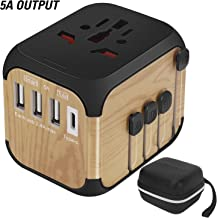 SZROBOY 2019 International Universal Travel Adapter with Premium Leather bag&Self-Reset Fuse (High-Speed 5A/30W Max,3 USB Ports &Type-C)Worldwide All In One Plugs Converter Smart Charger AC Power Wall Plug for Worldwide 220+ Countries Like Europe Asia Africa South North America,US,UK,EU,AU European Adapter(Wood Color)