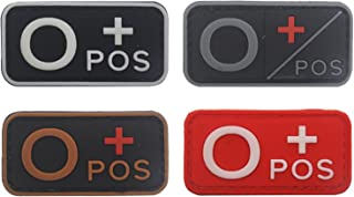Blood Type Patch Kit O Pos, Tactical Type O Positive 3D PVC Rubber Fastener Patches, 1.97 X 0.98 Inch Sized, Bundle 4 Pieces