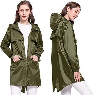 NICEWIN Women's Mid-Long Hooded Lightweight Raincoats Rain Jacket with Pockets Double Zipper