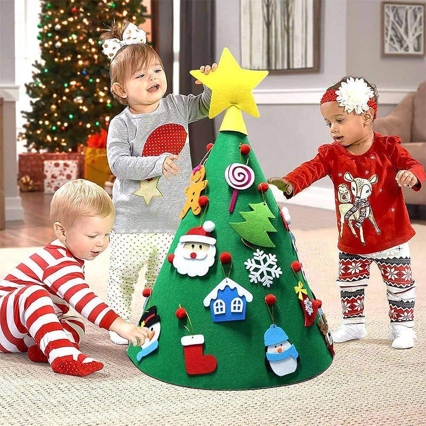 ビジネスお放棄されたGODTOON ミニクリスマスツリー 立体 DIY 子供 おもちゃ 景品 フェルト クリスマスツリー クリスマス 飾り 壁掛け 手作り 18個セット 取り外し 可能 デコレーション 50cmx70cm (A)