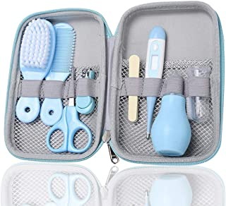 Baby Grooming Set, 8 in 1 Safe Portable Baby Clean Accessories, Hair Brush, Nail Clipper and Scissor, Nose Cleaner, Oral S...