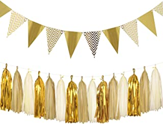 Aonor Sparkly Paper Pennant Banner Triangle Flags Bunting 8.2 Feet and Tissue Paper Tassels Garland 15 pcs for Baby Shower, Birthday Party Wall Decorations, Metallic Gold