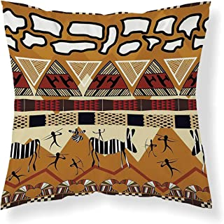 YOLIYANA Primitive Comfortable Throw Pillow,Tribal Ethnic African Hunting Zebra Spear and Arrow Prehistoric Tribe Life Theme for Home Office