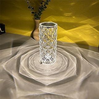 DYJD Lampe de Table en Diamant Acrylique contrôle Tactile 3 Couleurs éclairage avec lumière de Nuit en Cristal USB réglabl...