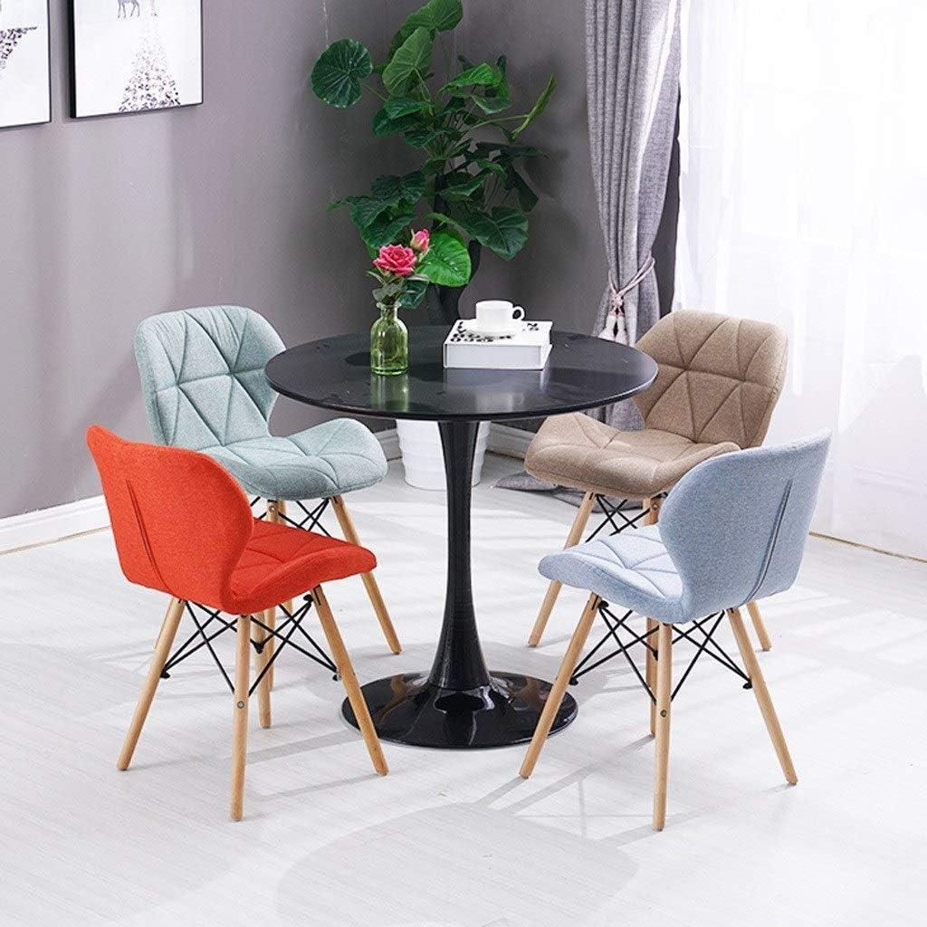 Chaise salle à manger avec papillon naturel et pieds en bois massif avec coussin rembourré Designer contemporain for les salons de bureau (Color : Khaki) Brown