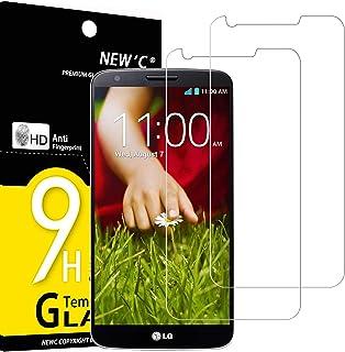NEW'C 2-pack skärmskydd med LG G2 – Härdat glas HD klar 9H hårdhet bubbelfritt