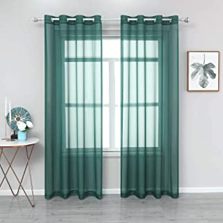 YGO Sheer Window Curtains 84 inch - Ring Top Transparent...