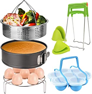 7 Piece Accessories for Instant Pot,Steamer Basket,Egg Steamer Rack,Non-stick Springform Pan,Silicone Egg Bites Molds,Dish-Clip,2 Mini Mitts,Perfect Pressure Cooker Accessories