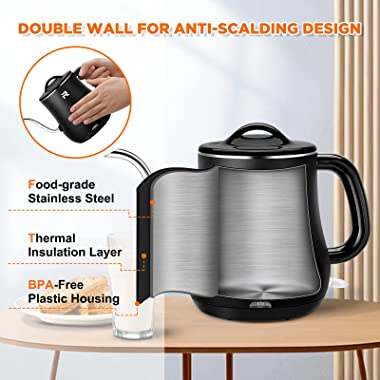 Gooseneck Electric Kettle Double Wall Cool Touch Pour Over Kettle BPA Free Portable Electric Tea Kettle 304 Stainless Steel C