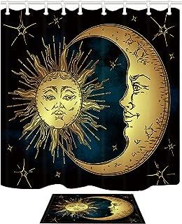 NYMB HNMQ Boho Chic Art Shower Curtain, Golden Sun Moon Stars Over Blue Black Sky Antique Style Doormat,69X70in Fabric Bathroom Curtain Set 15.7x23.6in Flannel Non-Slip Floor Entrance Mats